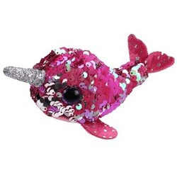 Beanie Babies - Flippables - Nelly Pink Narwhal - Teeny Tys