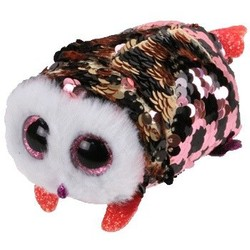 Beanie Babies - Flippables - Checks Pink and Black Owl - Teeny Tys