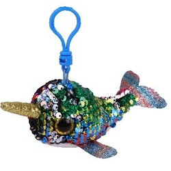 """Beanie Boos - Flippables - Calypso Multi-Color Narwhal - Clips 5"""""""