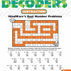 Math Mosaics - Double Digit Decoders Subtraction