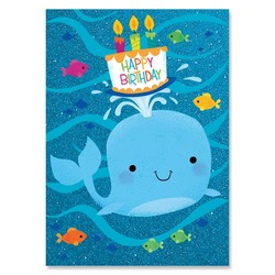 Birthday Cards - Whale With Cake Glitter Card