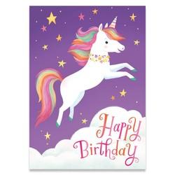 Birthday Cards - Flying Unicorn Glitter Card