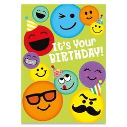 Birthday Cards - Emoticon Glitter Card