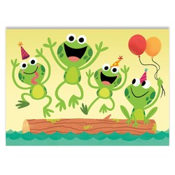 Birthday Cards - Hopping Frog Flocked Card
