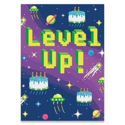 Birthday Cards - Level Up Neon Card