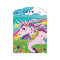 Birthday Cards - Unicorn Tri-Fold Card