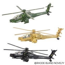 "8"" Diecast Pull Back Apache Helicopter"