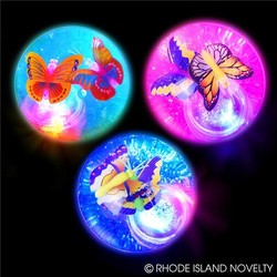 "2.35"" Light Up Butterfly Glitter Water Hi Bounce Ball Assorted Styles"
