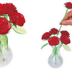 3D Crystal Puzzle - Red Roses in a Vase
