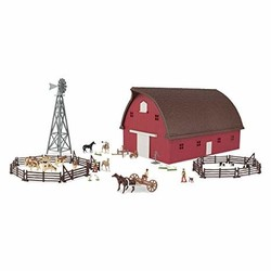 1:64 Farm Country Western Red Barn Set