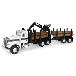 1:16 Big Farm Peterbilt Model 367 Logging Truck with Pup Trailer & Logs