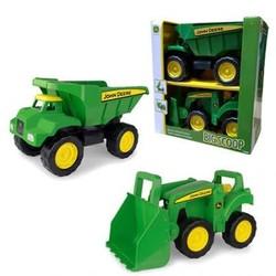 """John Deere 15"""" Big Scoop 2 Pack Set Dump Truck & Tractor with Loader"""