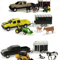 "1:32 8"" John Deere Pickup & Livestock Trailer Set Assorted Styles"