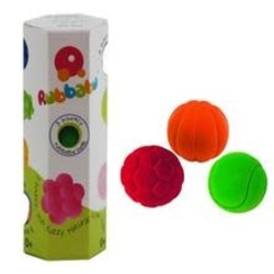 Rubbabu Set of 3 Small Balls (Basketball, Tennis Ball, Soccer Ball) in Box