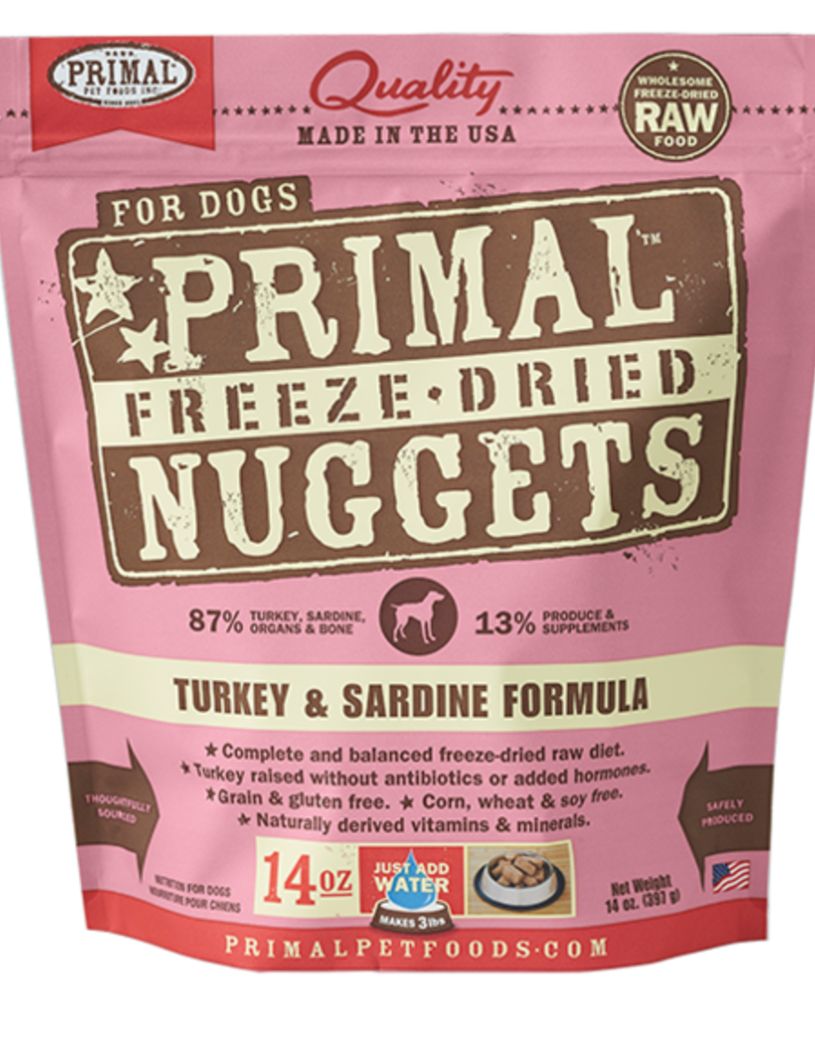 Primal Freeze Dried Raw Dog Food Turkey & Sardine Formula