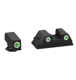 Ameriglo AMERIGLO NIGHT SIGHT SET GREEN 3-DOT TRITIUM WHITE OUTLINES CLASSIC GLOCK G43