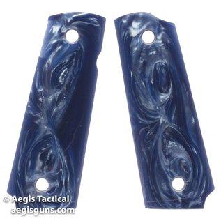 Fusion Firearms DARK BLUE PEARL, THIN MAG-WELL CUT BOTTOM 1911 GRIP
