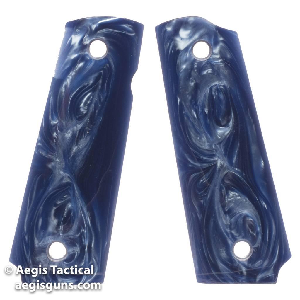 Fusion DARK BLUE PEARL, THIN MAG-WELL CUT BOTTOM 1911 GRIP