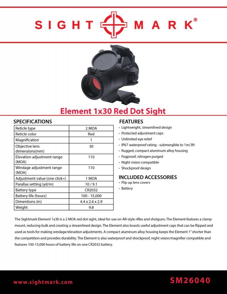 Sight Mark Element 1x30 Red Dot Sight