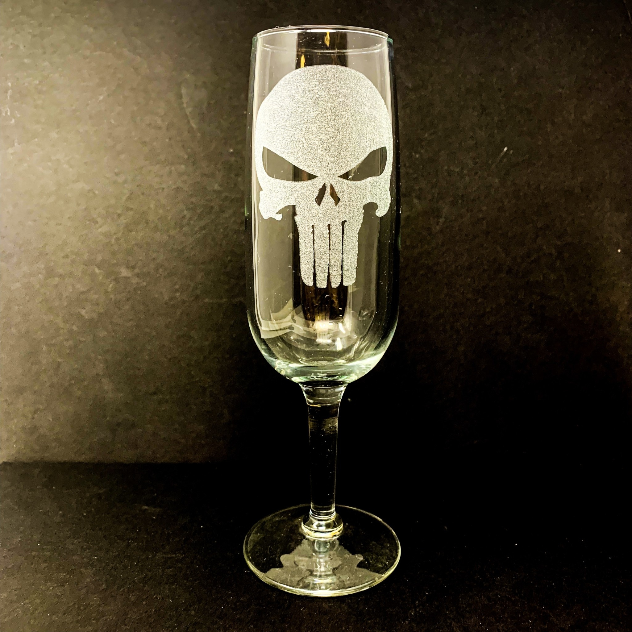 Sarasota Laser Engraving Engraved Punisher Toasting Flutes
