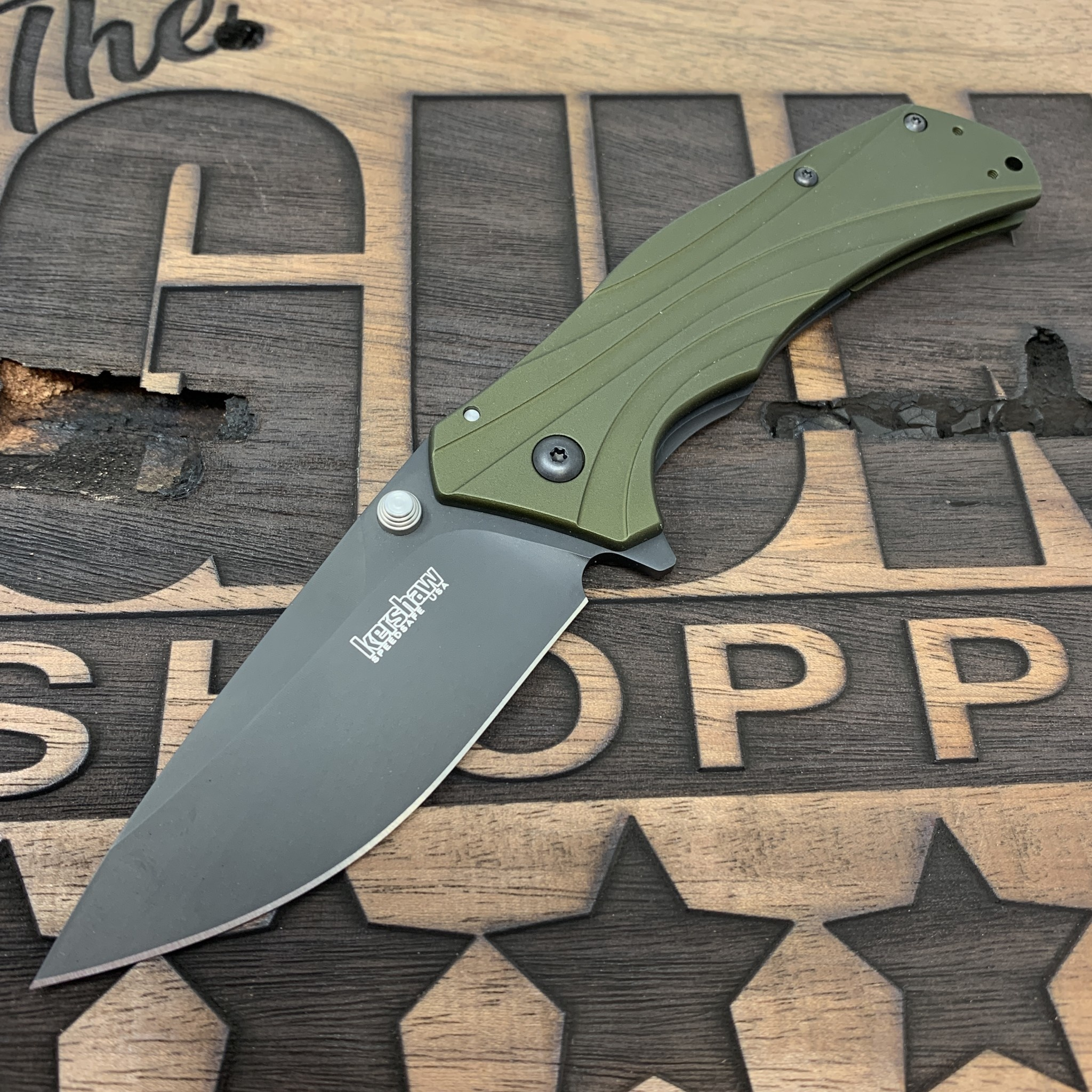 "Kershaw KERSHAW KNOCKOUT 3.25"" PLN OLIVE/BLK"