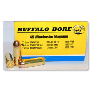 Buffalo Bore .45 Winchester Magnum Ammunition 20 Rounds FMJ 230 Grain