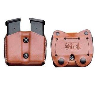 DESANTIS GUNHIDE Desantis Double Magazine Pouch .380 Single Stack Ambidextrous Leather Tan