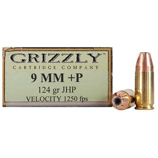 GRIZZLY Grizzly Ammunition 9mm Luger +P 124 Grain Jacketed Hollow Point Box of 20