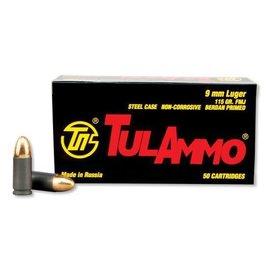 Tulammo TulAmmo 9mm Pistol Ammunition, 50 Rounds, Steel Case FMJ, 115 Grains