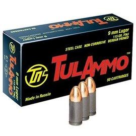Tulammo Tula 9mm Ammunition 115 Grain Full Metal Jacket 50 Rounds