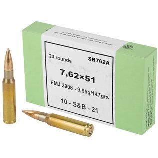 Sellier & Bellot Sellier & Bellot, Rifle, 762NATO, 147 Grain, Full Metal Jacket, 20 Round Box