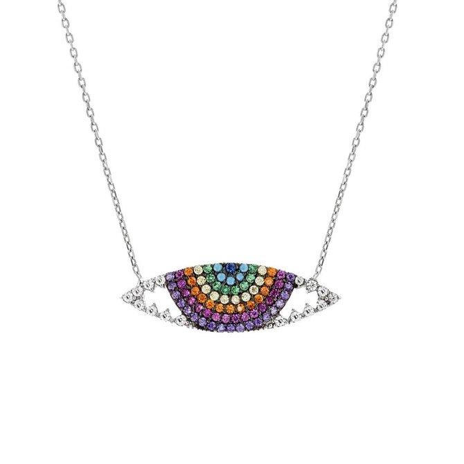 19-02111 Collar ojo plateado con zirconia de colores
