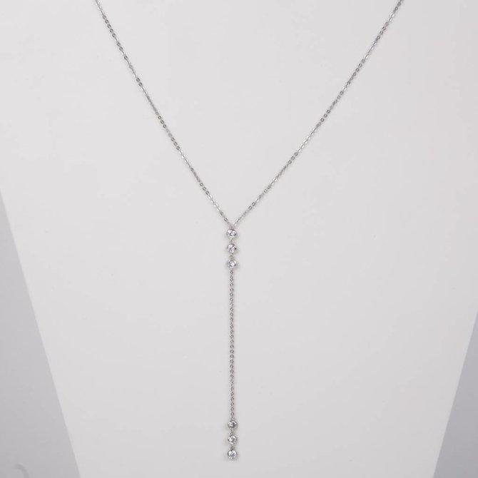 19-73181P Collar  lariat bezel plateado
