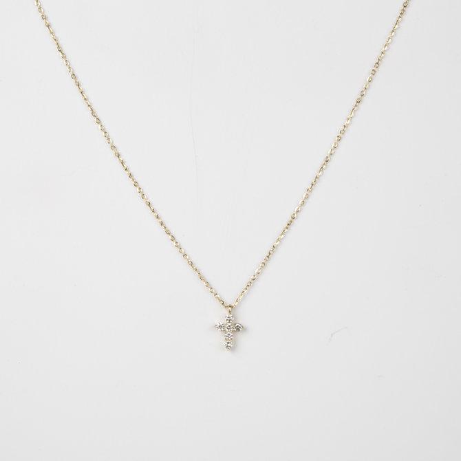 Collar Cruz Diamantes Oro