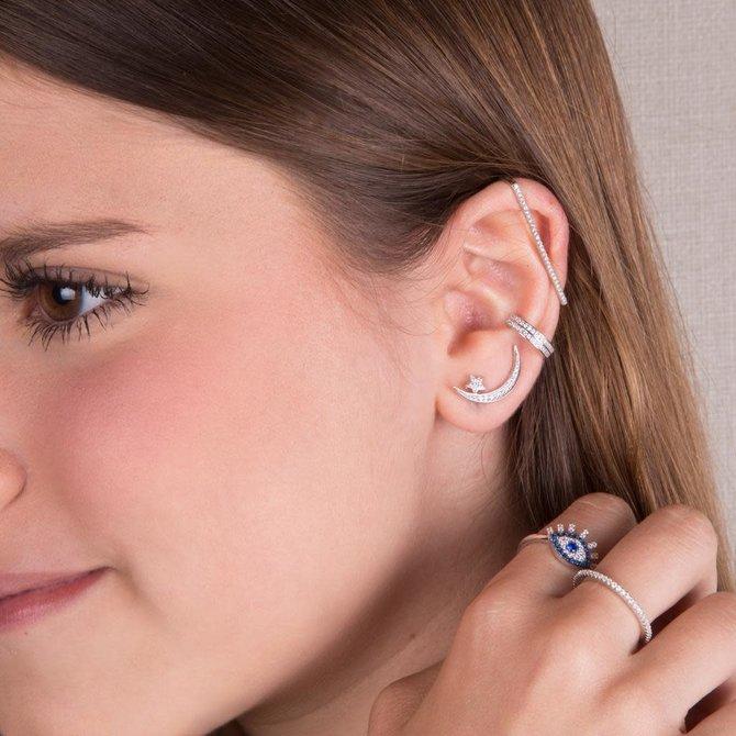 EAR CRAWLERS LUNA CON ESTRELLA PLATEADO