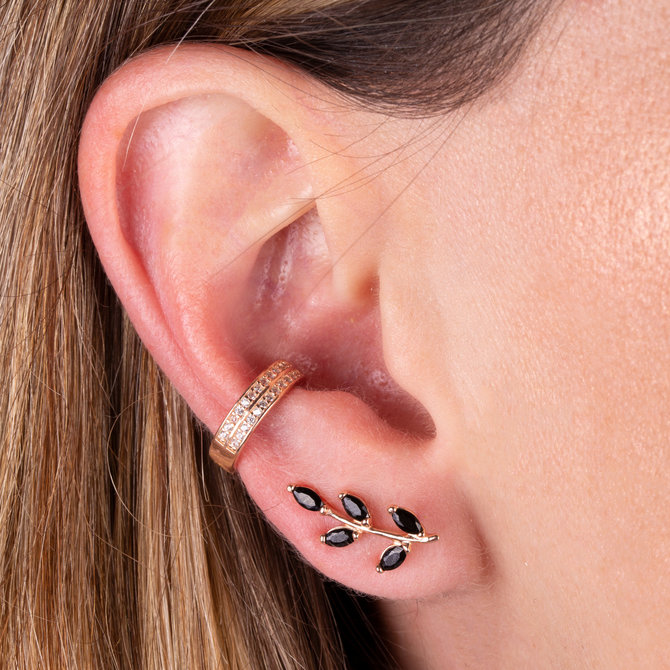 19-0647R EAR CUFF DOBLE CON ZIRCONIAS ROSE GOLD