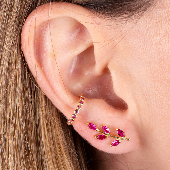 19-49105R EAR CUFF BURBUJAS ROSA