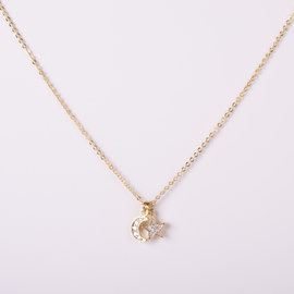 MOON AND STAR GOLDEN NECKLACE