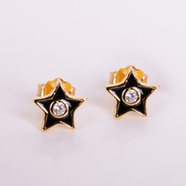 Penny GOLDEN STAR STUDS WITH BLACK ENAMEL