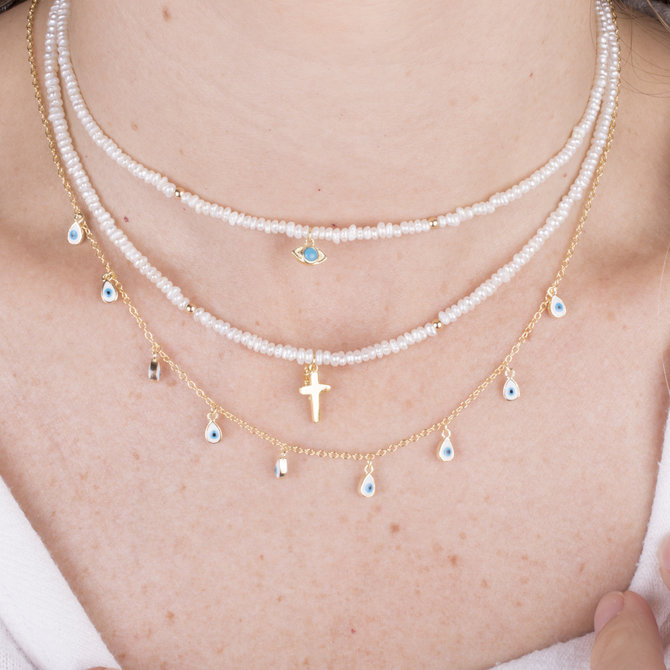 19-12209 PEARLS NECKLACES WITH CROSS PENDANT