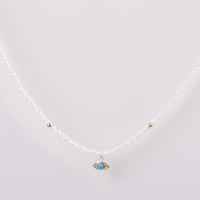 PEARLS NECKLACE WITH EVIL EYE PENDANT