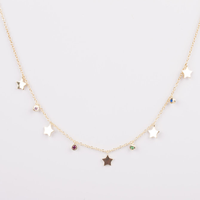 STAR NECKLACE WITH MULTICOLOR ZIRCONIAS