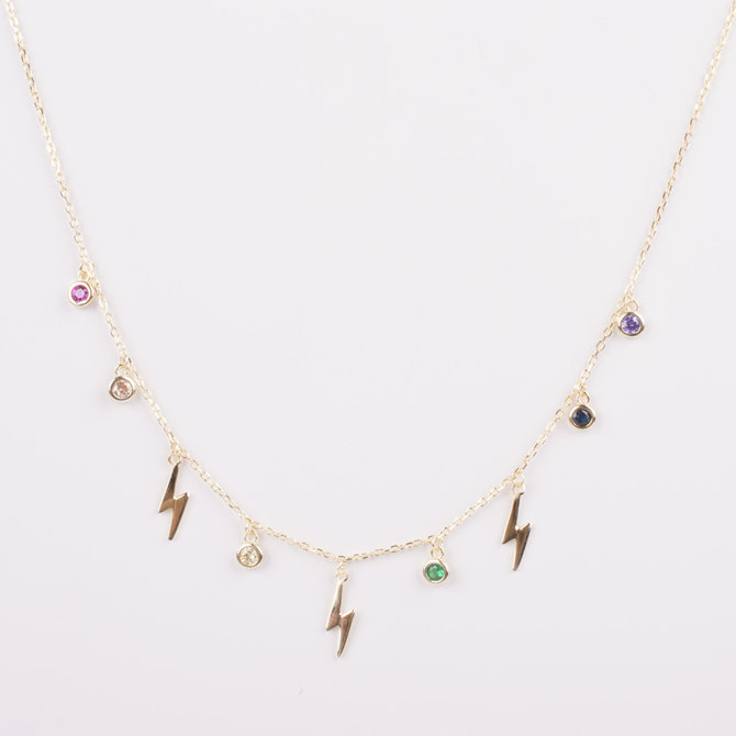 THUNDERBOLT NECKLACE WITH MULTICOLOR ZIRCONIAS