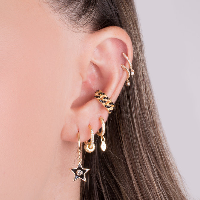 19-12185 CHAIN EAR CUFF WITH BLACK ZIRCONIAS