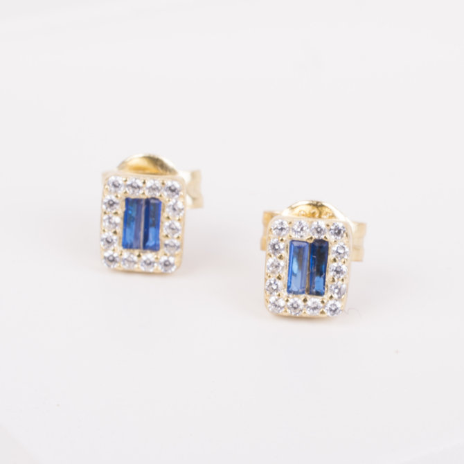 19-73924 STUDS CUADRO TIPO BAGUETTE AZUL
