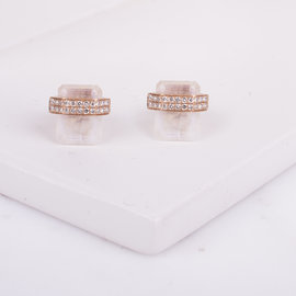 ME133631 Arete cuadro moonstone con diamantes rosegold (PAR)