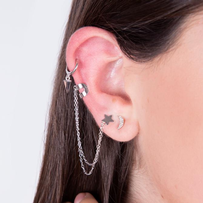 20-6248P ARETE ESTRELLA CON EAR CUFF PLATEADO