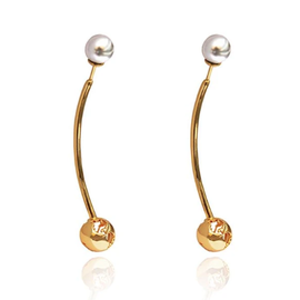19-8417 WORLD LONG EARRING 24K GOLD PLATED