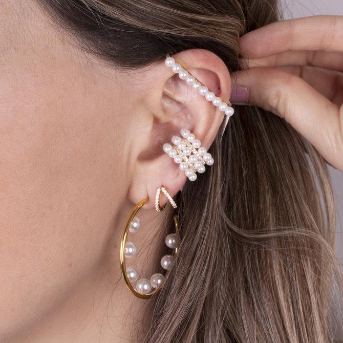 20-6258 EAR CUFF BARRA CON PERLAS EN DORADO