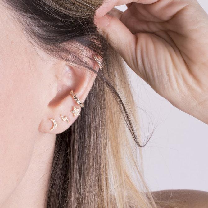 20-8156 EAR CUFF BAGUETTES ORO CON DIAMANTES